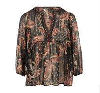 חולצת קשמיר בגזרת FLARED עם שרוולי פעמון לנשים בהדפס צבעוני