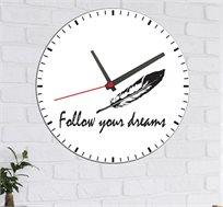 שעון עץ מודרני לבית נוצה FOLLOW YOUR DREAMS