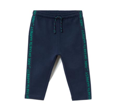 מכנס שרוך עם אותיות בצדדים לתינוקות - כחול כהה