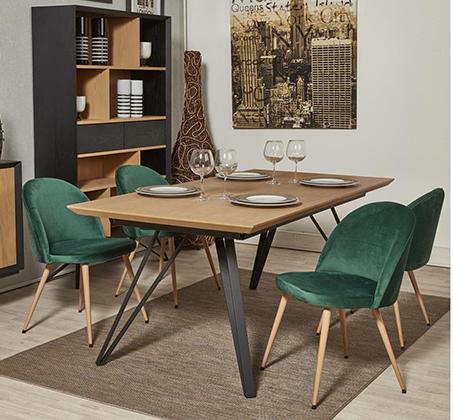 סט 4 כיסאות לפינת אוכל בריפוד קטיפה דגם Scandi בצבעים לבחירה מבית Ze Sweet Home - משלוח חינם - תמונה 5