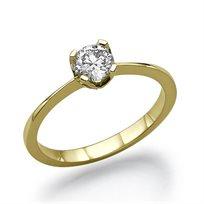 """טבעת אירוסין זהב צהוב  """"מרילין"""" 0.41 קראט F/SI1"""