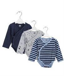 מארז 3 בגדי גוף כותנה סגירה צדדי