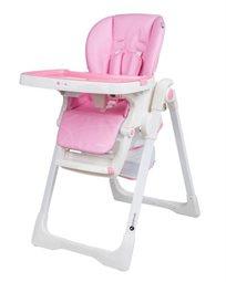 כסא אוכל מפואר לתינוק דגם גרנד Grand בריפוד דמוי עור יוקרתי וגלגלים נשלפים - ורוד