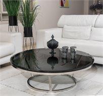 שולחן לסלון בעיצוב אלגנטי משולב זכוכית שחורה ובסיס מתכתי מעוגל