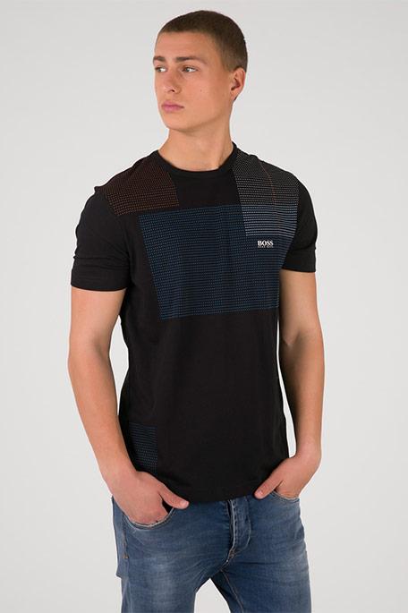 חולצת טי שרט עם הדפס לגברים - שחור