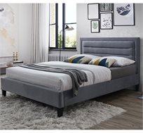 מיטה רחבה לנוער מעוצבת בריפוד בד קטיפתי עם ראש מיטה ובסיס מעץ מלא דגם פונט HOME DECOR