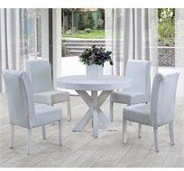 שולחן פינת אוכל חזק כולל  4 כיסאות מעץ בריפוד דמוי עור