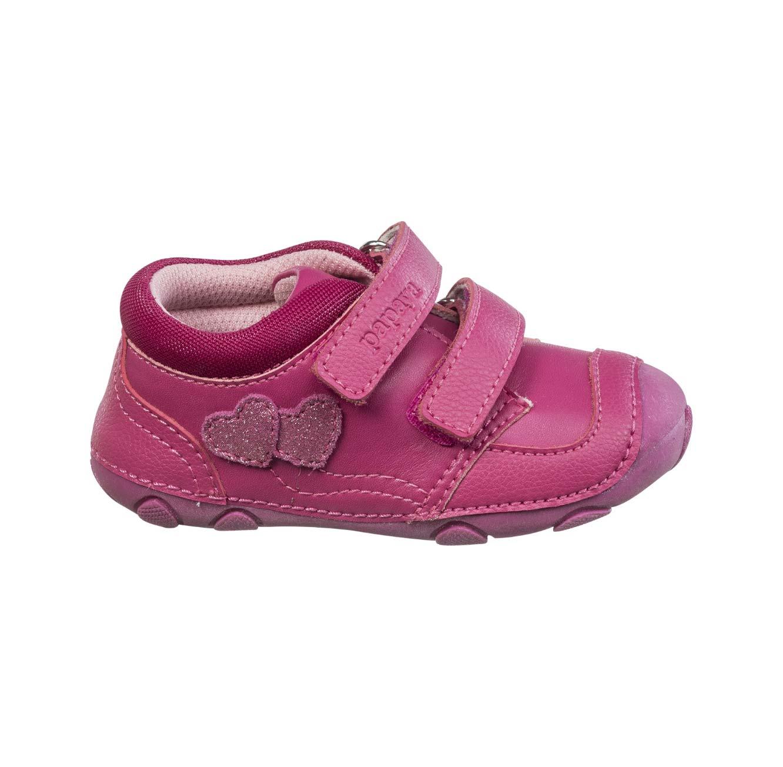 נעלי צעד ראשון לבנות דגם סופטי לבבות - ורוד פוקסיה