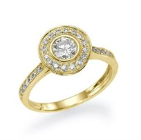 """טבעת אירוסין זהב צהוב """"הלנה"""" 0.93 קראט בשיבוץ 53 יהלומים מסביב"""