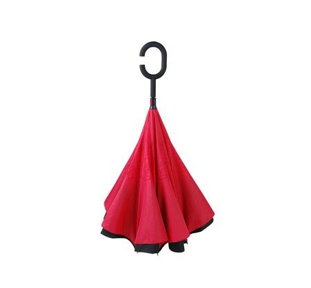 מטריה הפוכה הנפתחת מהפנים לחוץ ובכך מאפשרת נוחות סגירה ופתיחה מירבית ומונעת רטיבות