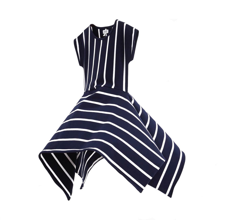 שמלת OVS פסים לילדות - כחול ולבן