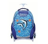ילקוט אורטופדי X BAG TROLLEY בדגם דולפינים + בקבוק שתייה מתנה