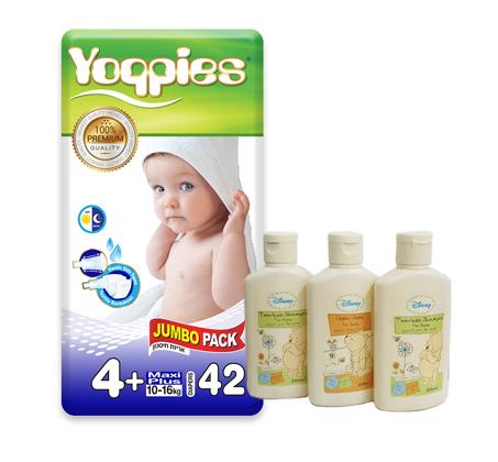 מארז 6 חבילות חיתולי פרימיום Yoppies + מארז מפנק הכולל שמפו וסבון של דיסני מתנה - תמונה 2