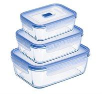 מארז שלוש קופסאות אחסון מלבניות מזכוכית בגדלים שונים Luminarc מסדרת Purebox Active תוצרת צרפת