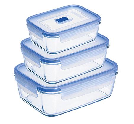 סט 3 קופסאות אחסון מזכוכית מסדרת פיורבוקס אקטיב לומינארק