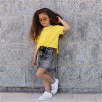 חולצת ORO לילדות (12 חודשים-6 שנים) צהוב בטן