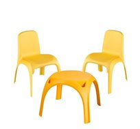 שני כיסאות ושולחן עם מבנה קשיח ובטוח לילדים דגם גילי