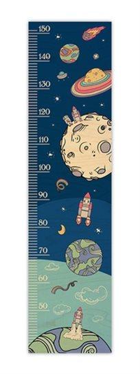מד גובה מעוצב לחדר ילדים מעץ - חלל