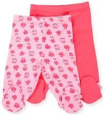 זוג רגליות לתינוק כותנה טריקו מידה 0-3 - ורוד