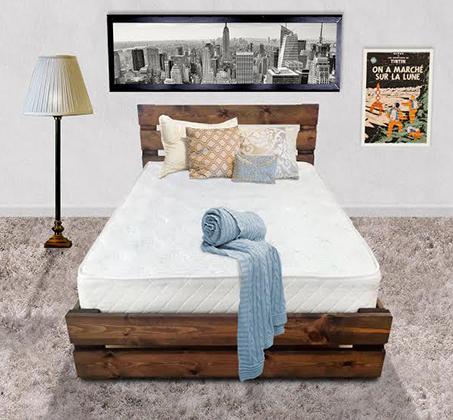 מיטה זוגית בעיצוב כפרי אולימפיה כולל מזרן אורטופדי במגוון צבעים לבחירה