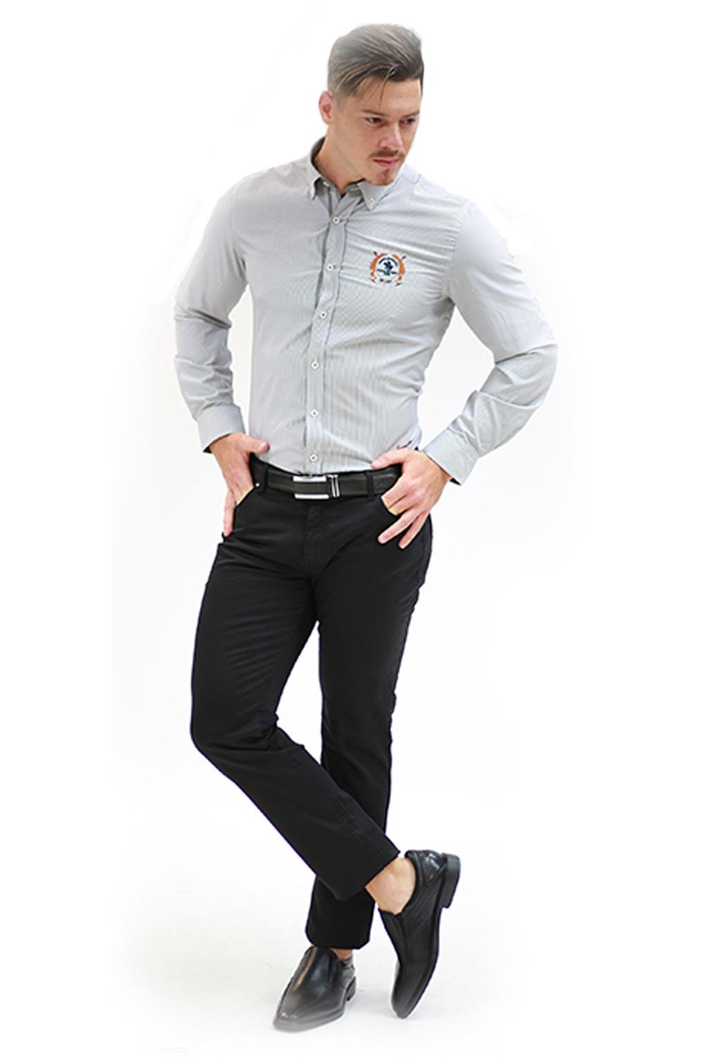 חולצת פסים מכופתרת לגבר - צבע לבחירה