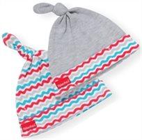 סט 2 כובעים לתינוק כותנה טריקו - אפור