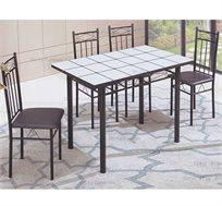 פינת אוכל מעוצבת מזכוכית כולל 4 כסאות