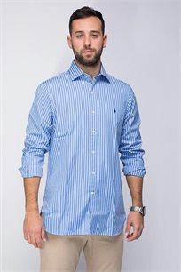 חולצה מכופתרת לגבר POLO RALPH LAUREN עם פסים בצבעי כחול לבן