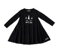 שמלת ג'רזי מסתובבת עם שרוול ארוך - שחור בשילוב הדפס חתול חד קרן