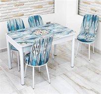 פינת אוכל נפתחת מזכוכית בגווני טורקיז כולל 4 כסאות