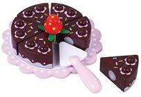 עוגת שוקולד על מגש עם כף הגשה מעץ