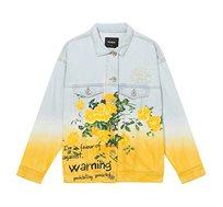 ג'קט ג'ינס לנשים בהדפס פרחוני Colours - תכלת/צהוב