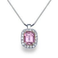 שרשרת יהלומים מזהב עם תליון יהלום ואבן טורמלין ורודה