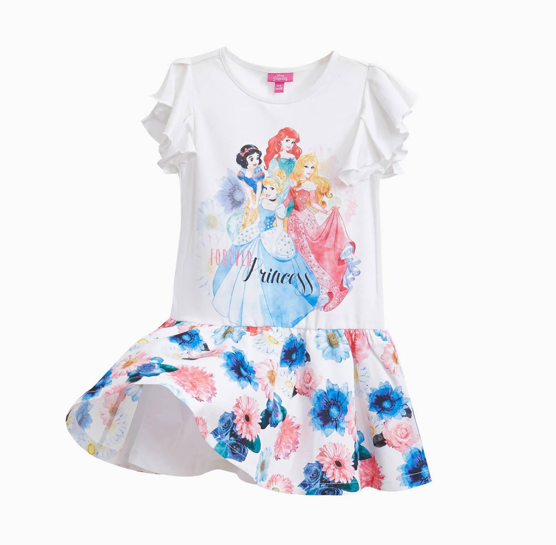 שמלה OVS לילדות  - לבן עם הדפס הנסיכות של דיסני