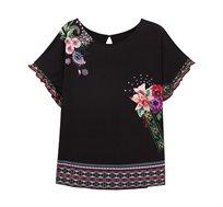 חולצה קצרה בהדפס פרחוני Medoc לנשים - שחור
