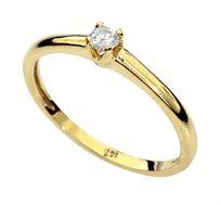 טבעת משובצת יהלום לבן עגול עשויה בזהב צהוב 14 קאראט
