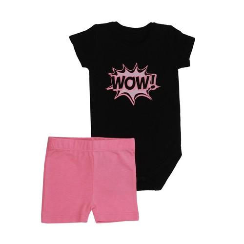 Minene חליפת בגד גוף (12-6 חודשים) - שחור ורוד
