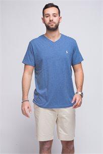 חולצת טישרט כחולה ג'ינס צווארון V לוגו לבן POLO RALPH LAUREN