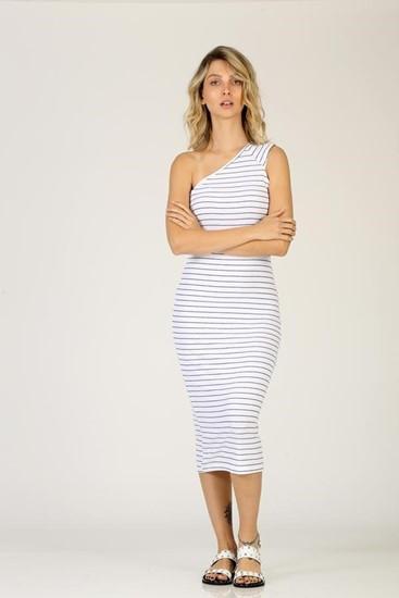 שמלה כתף אחת - לבן