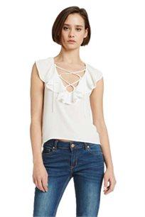 חולצת קרפ MORGAN בעיטור מלמלה ושרוך בצבע אופוויט