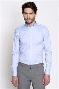 חולצת אריג EXTRA SLIM מכופתרת לגבר DEVRED - תכלת