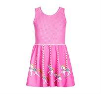 שמלה PILPEL מבד לייקרה - ורוד עם נקודות לבנות ודפוס קרוסלת ילדים
