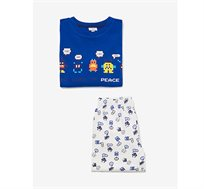 פיג'מה OVS לילדים בצבע כחול ולבן עם הדפס