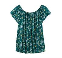 חולצה עם כתפיים חשופות PROMOD בצבע ירוק מודפס