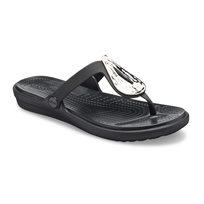 Crocs Sanrah Liquid Metallic Flip - כפכפי אצבע בצבע שחור בעיטור מתכת בצורת טיפה