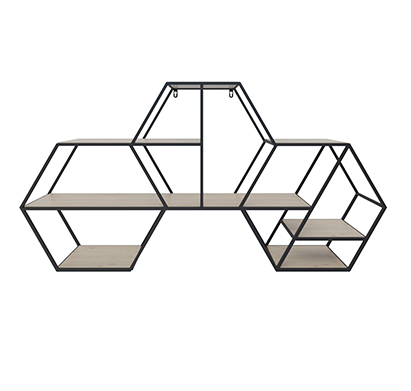 שלישיית מדפים משושים עשויים מתכת בשילוב עץ דגם קורל RAZCO - משלוח חינם - תמונה 3