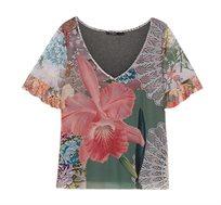 חולצה קצרה עם צווארון וי בהדפס פרחוני צבעוני לנשים Desigual דגם Laura