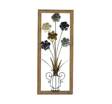 קישוט קיר מתכתי עם מסגרת בצורת כד פרחים עגולים