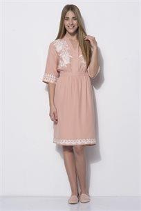 שמלה עם רקמה בצבע קונטרסטי