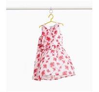 שמלה לילדות בצבע לבן עם הדפס של פרחים באדום